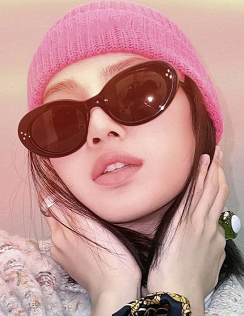Fashion Red And Grey Tablets Cat Eye Rice Stud Sunglasses