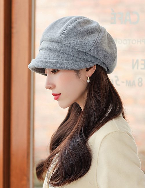 Fashion Pink Curled Octagonal Beret