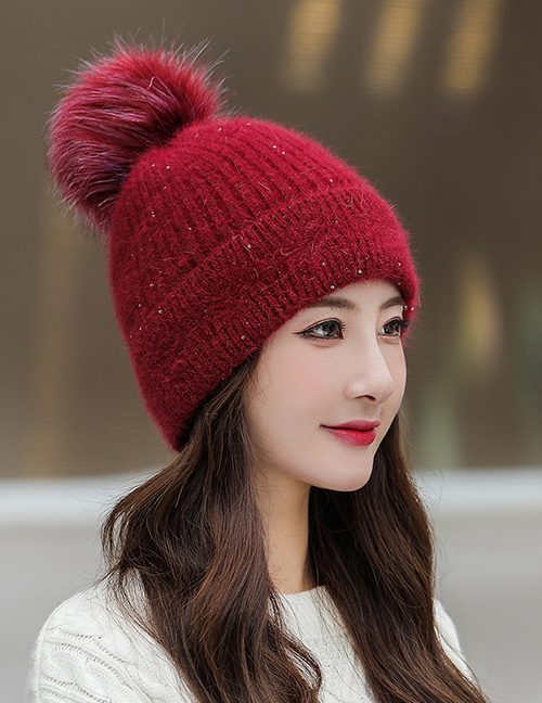 Fashion Wine Red Wool Ball Sequin Knitted Woolen Hat