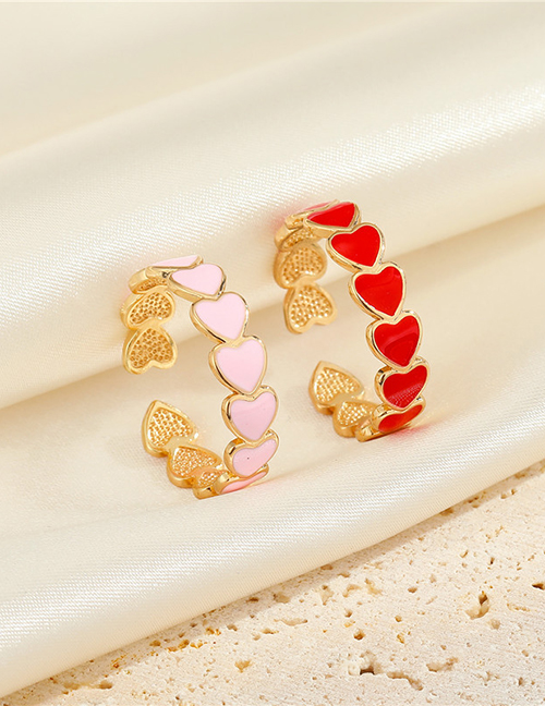Fashion Pink Alloy Heart Surround Open Ring