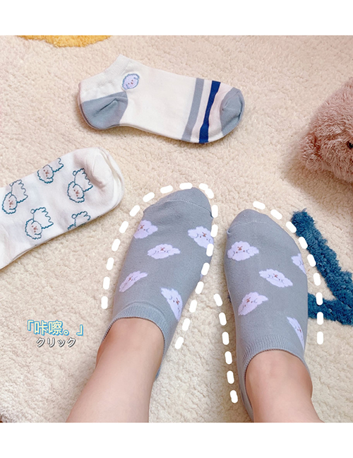 Fashion Many Dogs On Blue Background Low Cut Shallow Mouth Cartoon Boat Socks