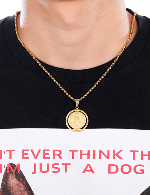 Fashion Gold (with Picture Chain) Stainless Steel Portrait Medal Necklace