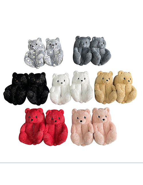 Fashion Sequin Brown Plush Sequin Teddy Bear Cotton Slippers