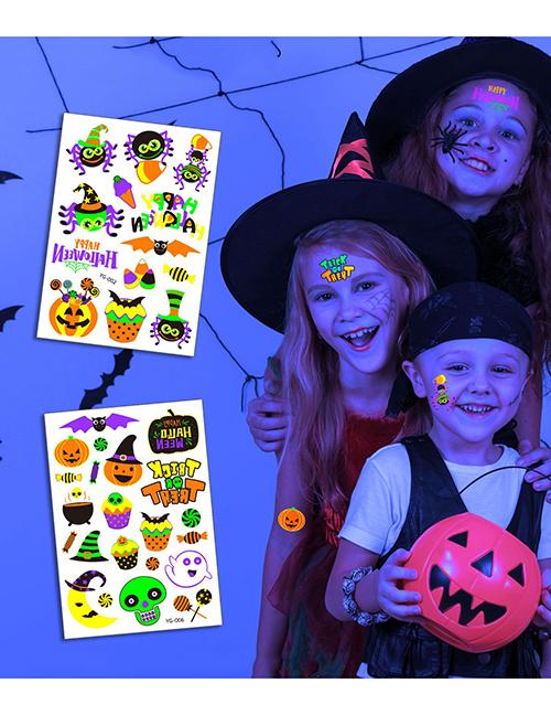 Pegatinas De Tatuaje Fluorescente De Halloween De Dibujos Animados Para Niños