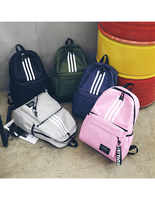Fashion Pink Striped Large Capacity Backpack