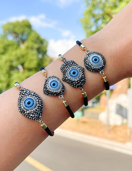 Fashion Love Copper Inlaid Zircon Irregular Eye Braided Bracelet