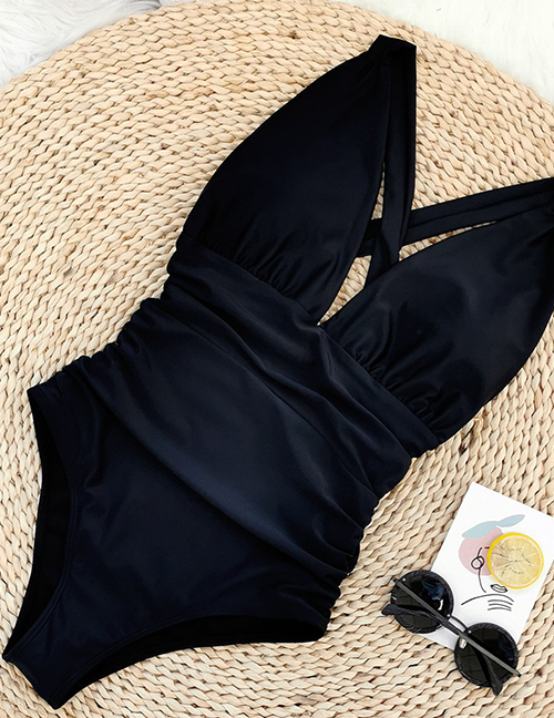 Fashion Black Solid Color Strapless Back Pleated One-piece Swimsuit
