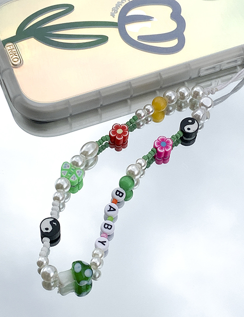 Fashion Color Pearl Beaded Soft Ceramic Flower Letter Beads Mobile Phone Chain