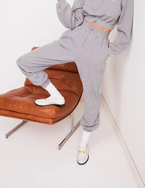 Fashion Grey Ankle Trousers With Elasticated Drawstring