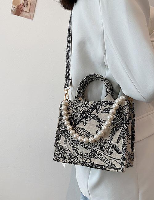 Fashion Black Small Bag Printed Large Capacity Silk Scarf Handbag