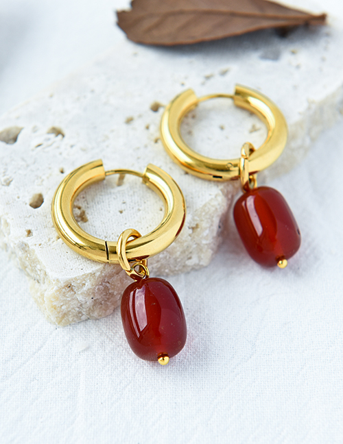 Fashion Red Copper Geometric Natural Stone Earrings