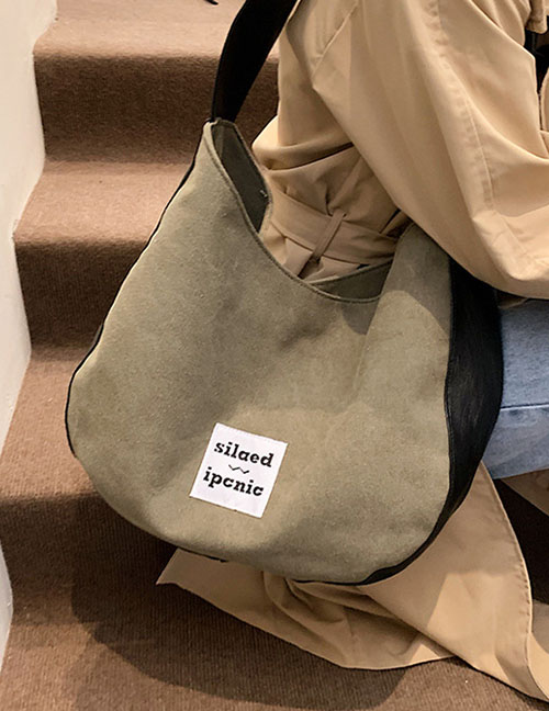 Fashion Green Large-capacity Patch Portable Canvas Bag