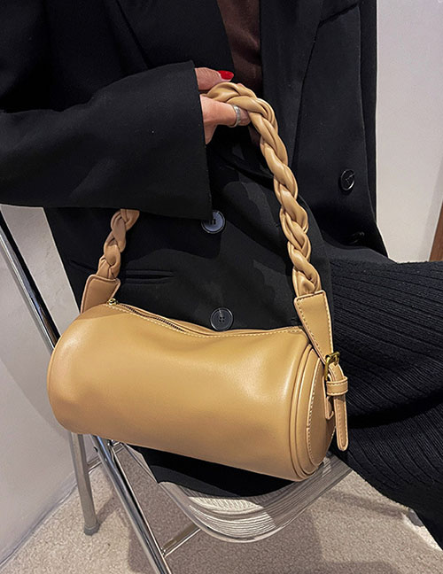 Fashion Coffee Color Twisted Portable Cylinder Messenger Bag