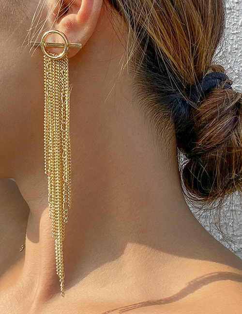 Fashion Silver Color Metal Fringe One Word Buckle Earrings