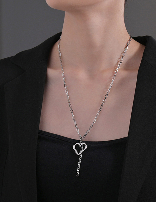 Fashion Silver Color Mosaic Love Necklace