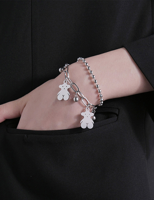 Fashion Silver Color Stainless Steel Bear Round Bead Bracelet