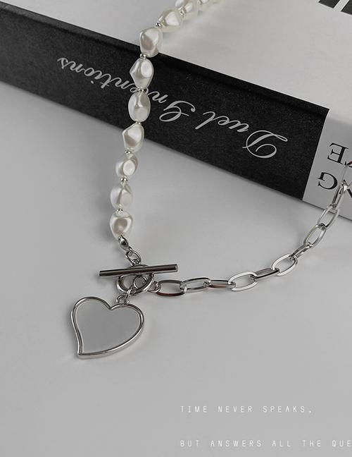 Fashion Silver Color Titanium Steel Love Pearl Ot Buckle Stitching Necklace