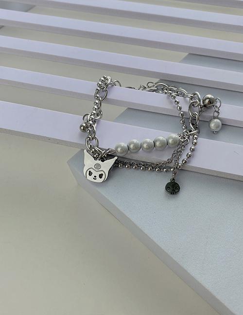 Fashion Silver Color Titanium Steel Monster Pearl Double Bracelet