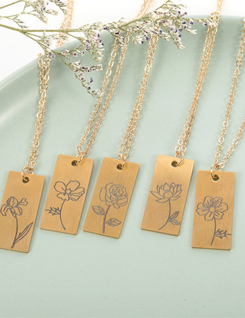 Fashion December Stainless Steel Plant Flower Square Necklace