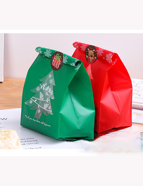 Fashion 9.5*20+7cm Red Christmas Print Frosted Candy Middle Seal Packaging Bag