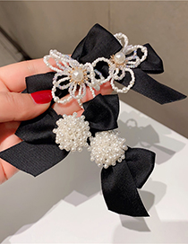 Fashion Pearl Flower Spring Clip Fringe Bow Pearl Flower Hairpin