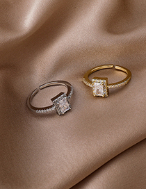 Fashion Silver Real Gold-plated Micro-set Zircon Square Open Ring