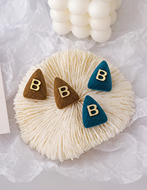 Fashion Blue Alphabet Suede Alloy Geometric Earrings