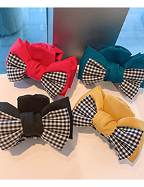 Fashion Rose Red Bowknot Fabric Houndstooth Shark Clip