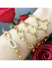 Fashion Cross Butterfly Diamond Lightning Gold Plated Geometric Bracelet