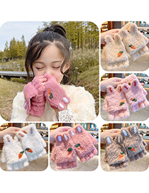 Fashion Sky Blue White And Purple [3-6 Years Old] Plush Thickened Clamshell Fruit Embroidery Children Gloves