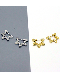 Fashion Silver Color Pentagram Geometric Real Gold Plated Earrings