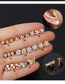 Fashion 8# Rose Gold Color Stainless Steel Pierced And Micro-inlaid Zircon Geometric Earrings