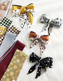 Fashion Double Thin White Printed Contrast Color Long Small Silk Scarf Ribbon Headband