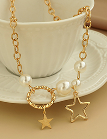 Fashion Gold Color Alloy Chain Pearl Five-pointed Star Necklace