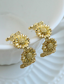 Fashion Gold Color Alloy Daisy C-shaped Earrings