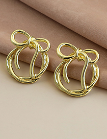 Fashion Gold Color Alloy Bow Hollow Round Earrings