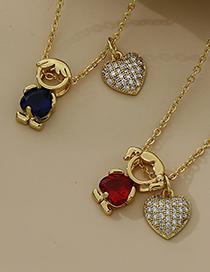 Fashion Red Copper Inlaid Zircon Love Girl Necklace