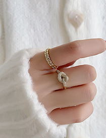 Fashion Check Pattern Real Gold Plated Micro Zircon Knotted Open Ring