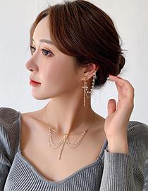 Collar De Pendiente De Borla De Cadena De Cruz De Diamantes De Cristal