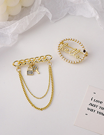 Fashion Chain Style Chain Tassel Oval Letter Pearl Brooch