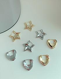 Fashion Triangle Silver Color Geometric Irregular Alloy Hollow Earrings