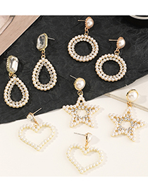 Fashion Five-pointed Star Geometric Round Five-pointed Star Pearl Love Earrings