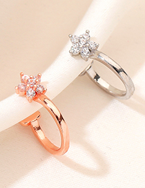 Fashion Rose Gold Diamond-studded Copper And Gold-plated Flowers Without Pierced Earrings