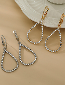 Fashion Gold Color Alloy Diamond Cutout Drop Shape Earrings