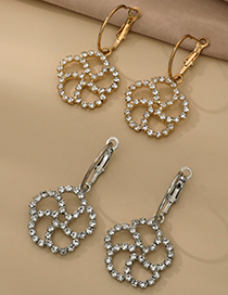 Fashion Silver Color Alloy Diamond Hollow Flower Stud Earrings