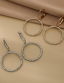 Fashion Silver Color Alloy Diamond Hollow Round Earrings