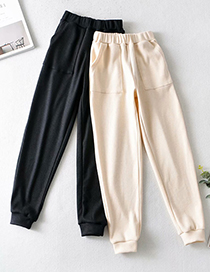 Fashion Beige Solid Color Knitted Elastic Waist Straight Wide Leg Pants