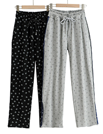 Fashion Black Smiley Face Striped Wide Loose Guard Pants