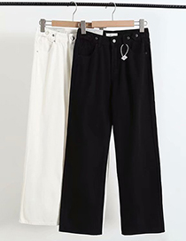 Fashion Black Straight Mopping Pants With Adjustable Waist Button