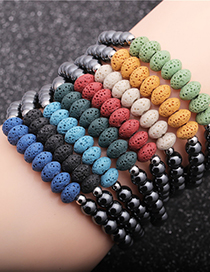 Fashion Red Volcanic Stone Abacus Beads Gallstone Volcanic Stone Abacus Beaded Elastic Bracelet